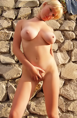 Busty Blonde Teen Strips Outdoor