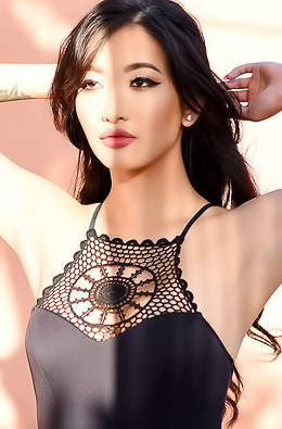 Sexy Asian Reina In Black Bodysuit