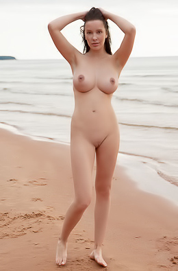 Young Chick Flashing Giant Tits On The Beach