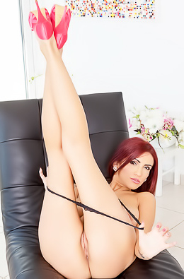 Sexy sweet Amina Danger with her shy voice layed down onto our sofa to pleasure herself